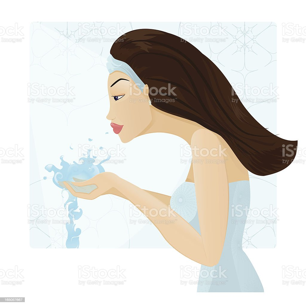 Face cleaning vector art illustration