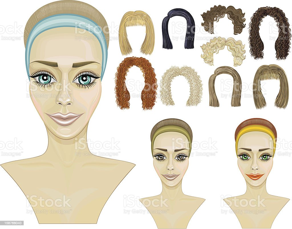 face girl.make-up.hairstyles.game royalty-free stock vector art