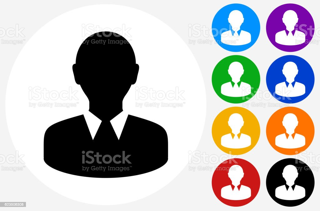 Face Icon on Flat Color Circle Buttons vector art illustration
