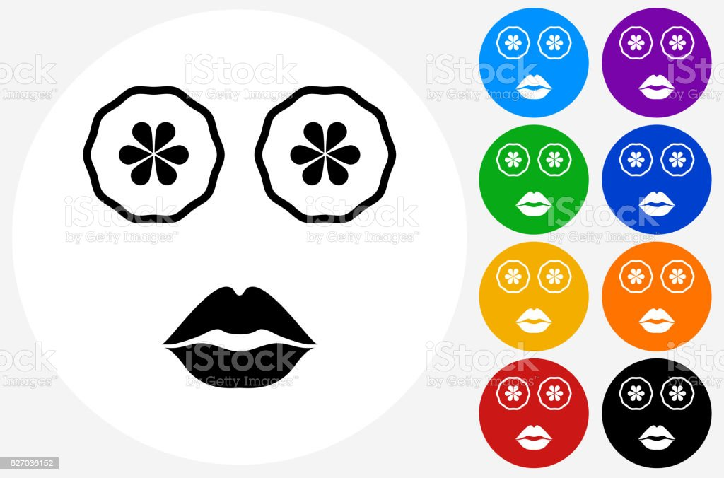 Face Mask Icon on Flat Color Circle Buttons vector art illustration