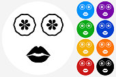 Face Mask Icon on Flat Color Circle Buttons