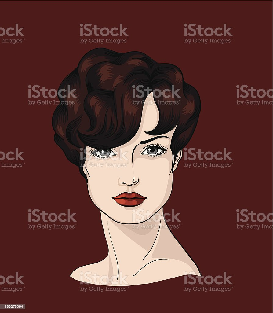 Face of a brunettewith short wavy hair royalty-free stock vector art