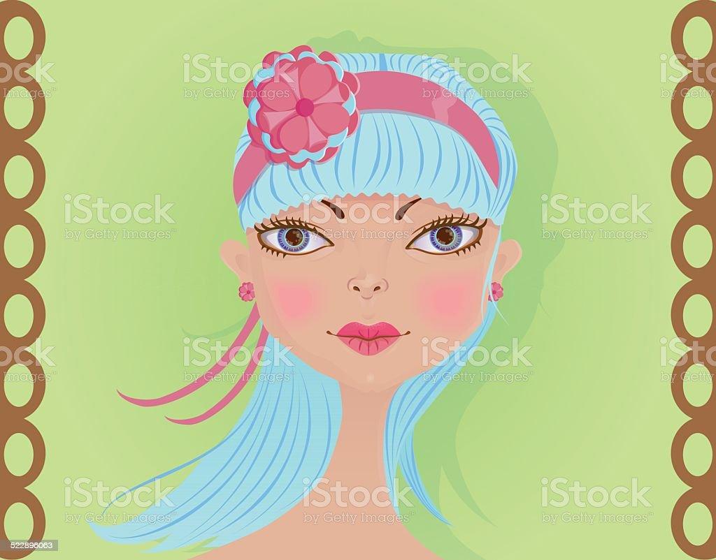 Face of a cute girl with blue hair vector art illustration