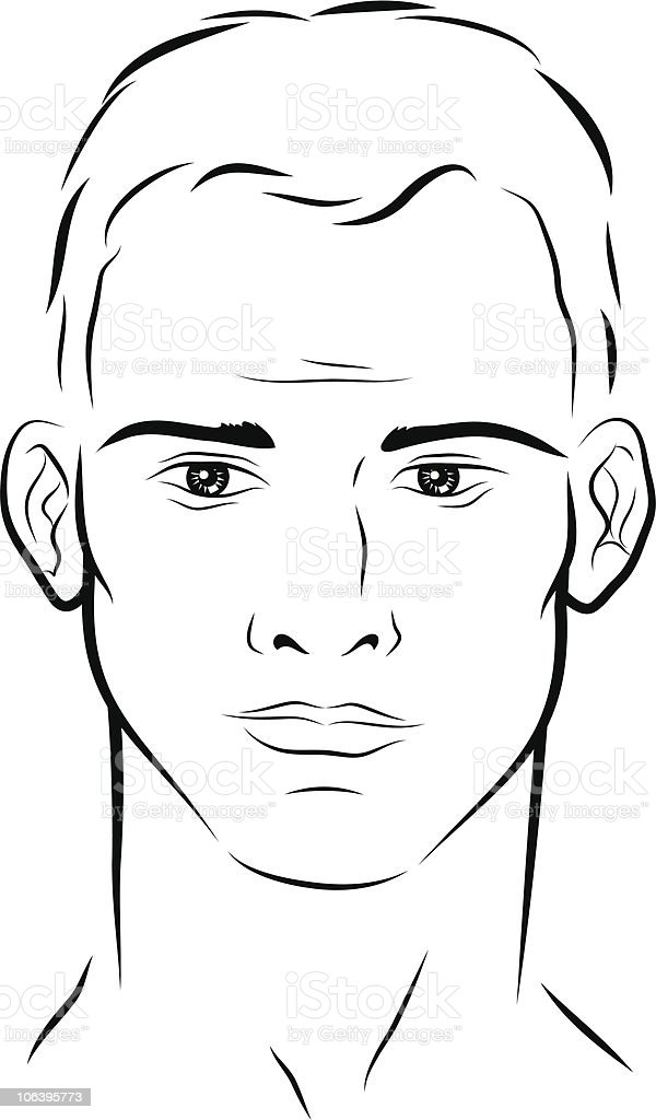 face of a man vector art illustration