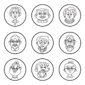 Face of elder people icons. Pensioner head collection