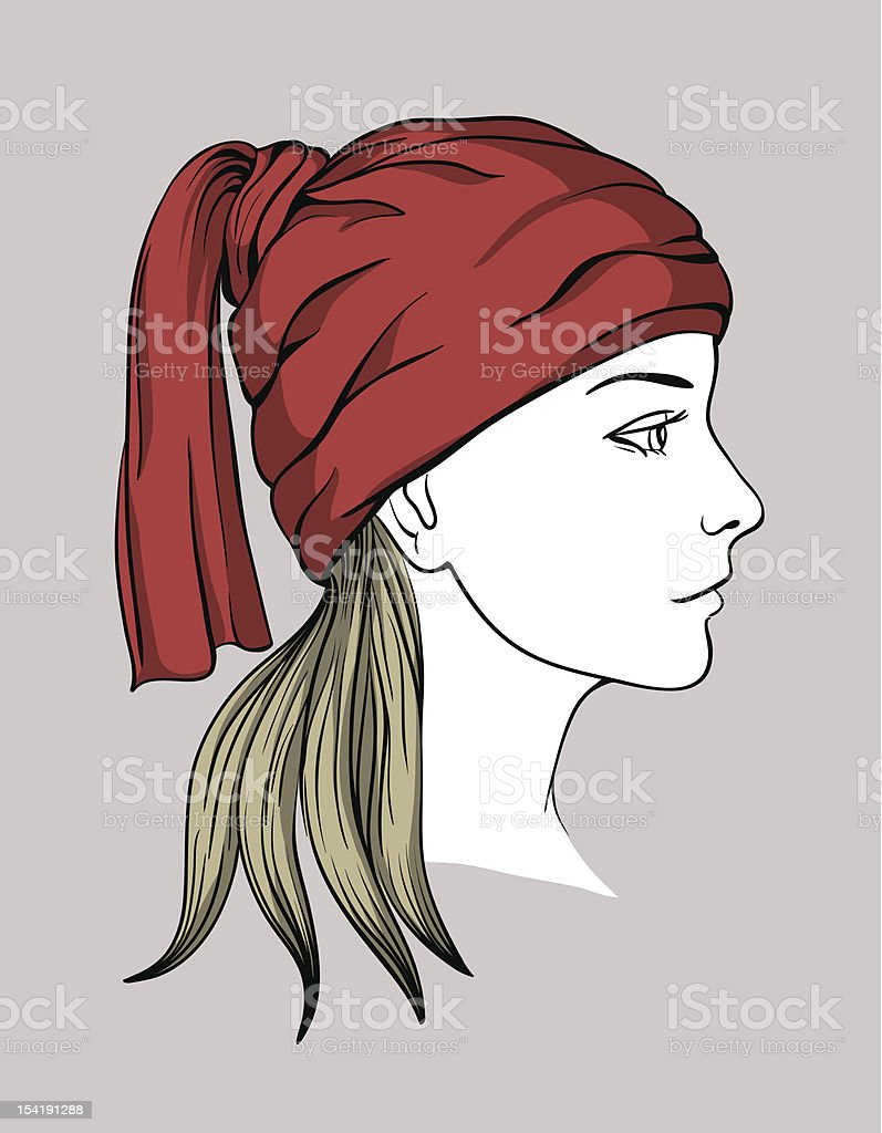 Face of girl with winter cap royalty-free stock vector art