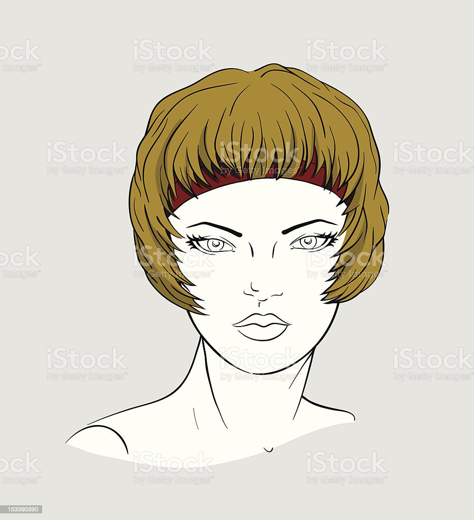 Face of woman with an elastic band for hair-dressing royalty-free stock vector art