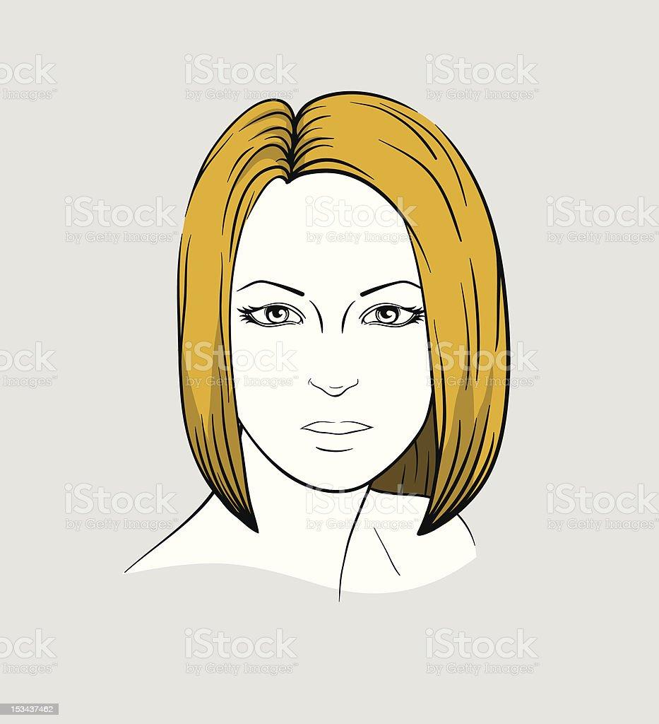 Face of woman with medium long hair vector art illustration
