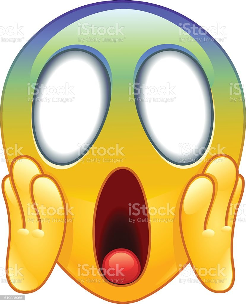 Face screaming in fear emoticon vector art illustration