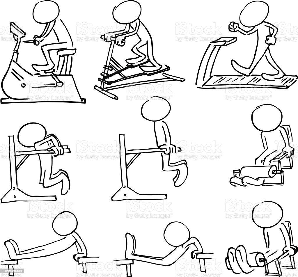 Faceless Bodybuilding Characters vector art illustration