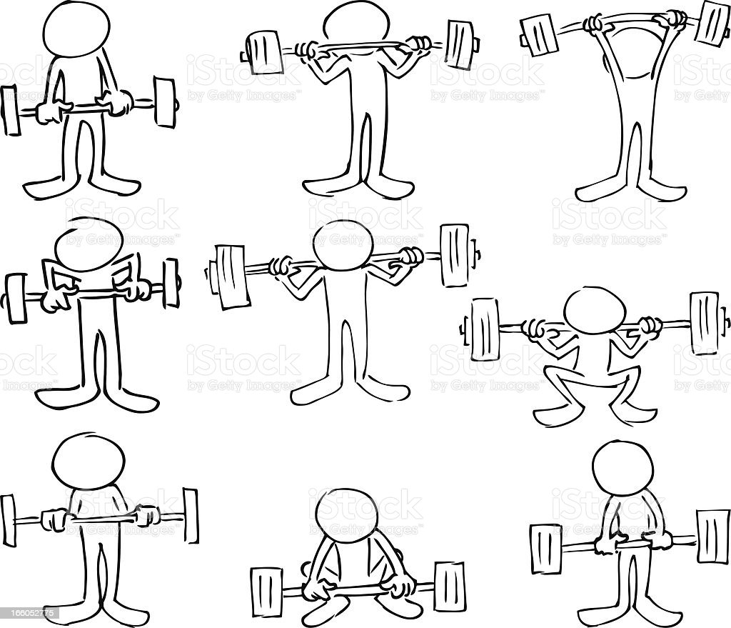 Faceless Bodybuilding Characters royalty-free stock vector art