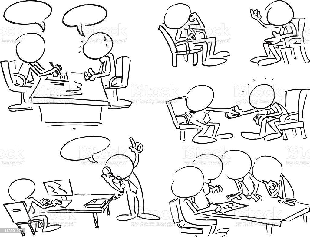 Faceless Business Meetings vector art illustration