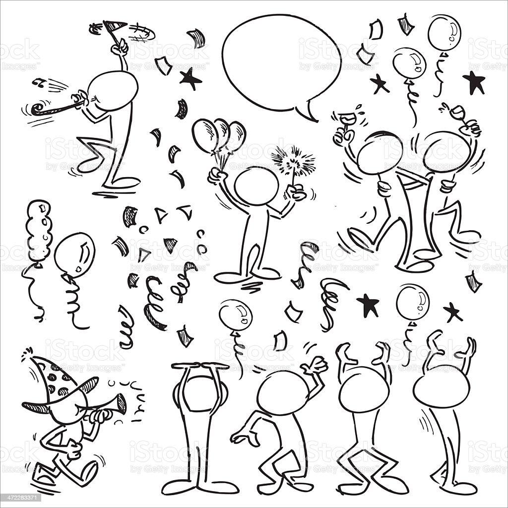 Faceless Character Celebration vector art illustration