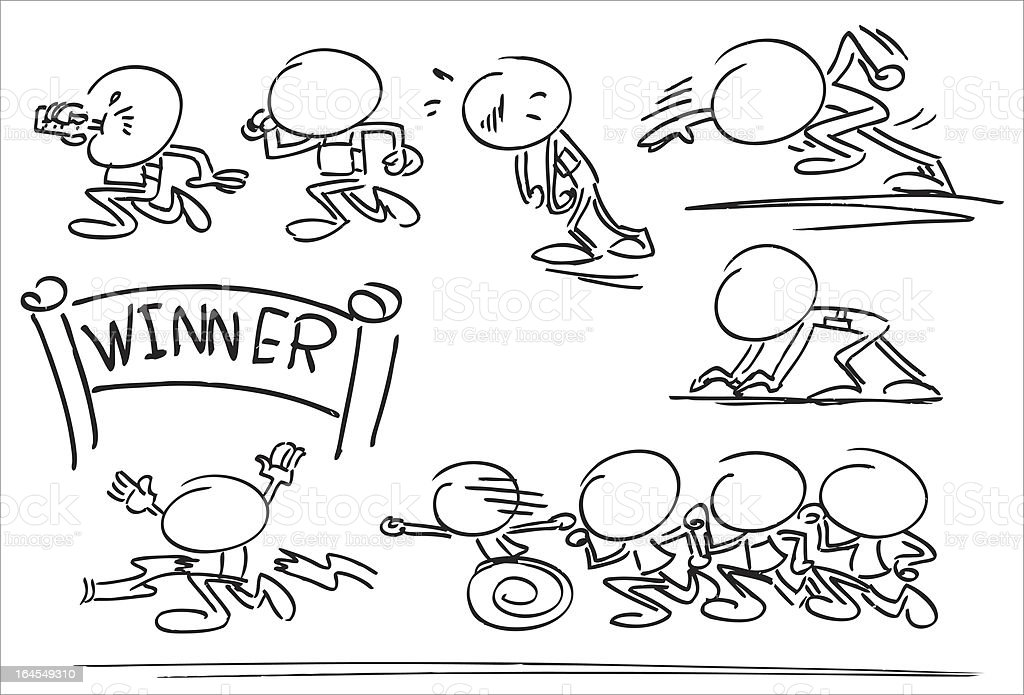 Faceless Character Running Race vector art illustration