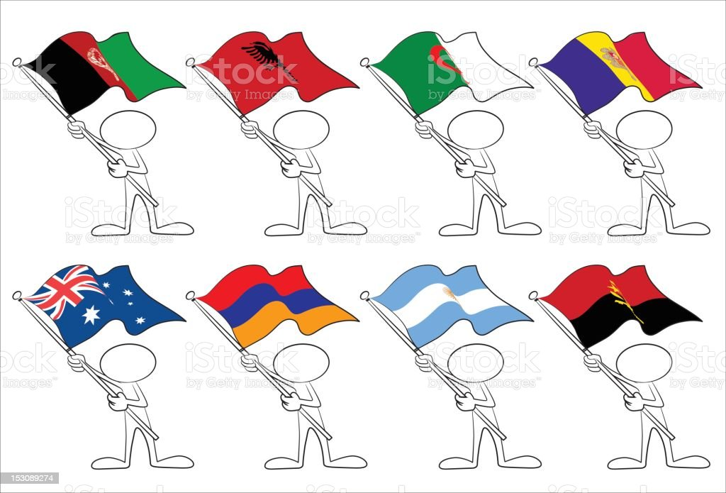 faceless character with flags royalty-free stock vector art
