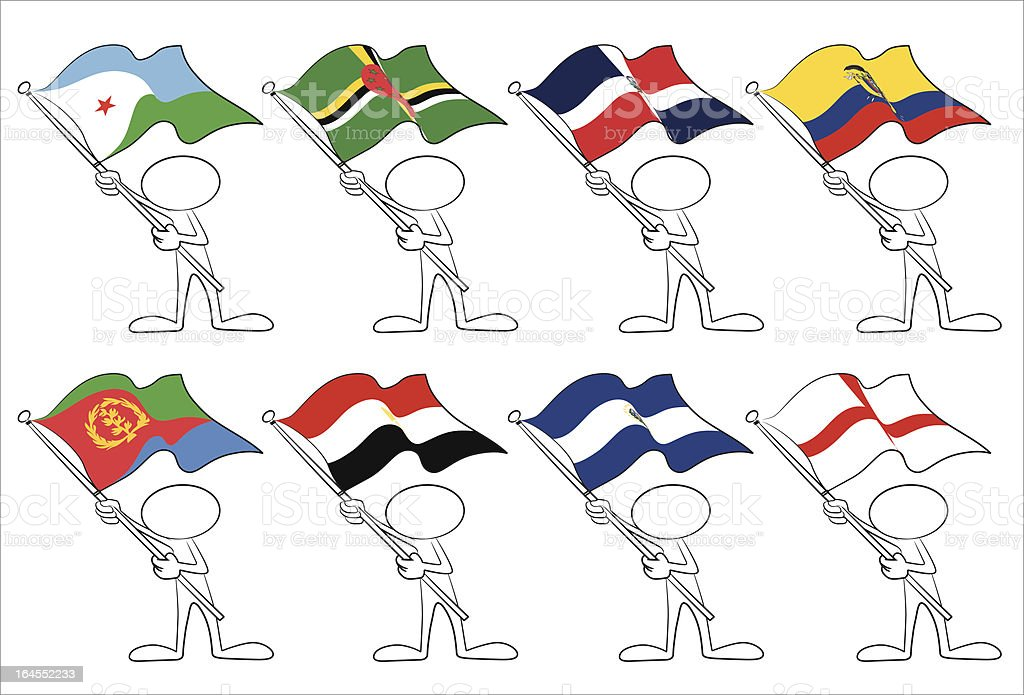 faceless character with flags vector art illustration