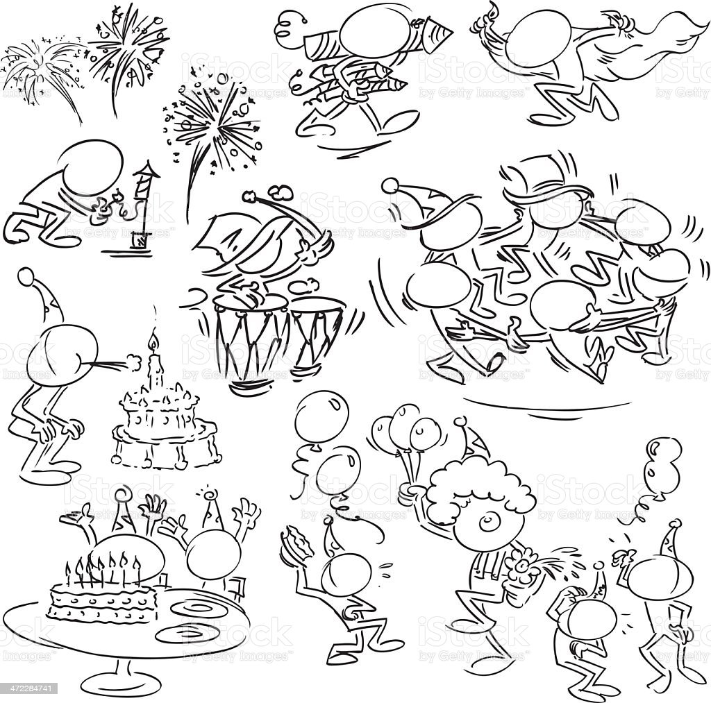Faceless Characters celebrating Birthday royalty-free stock vector art