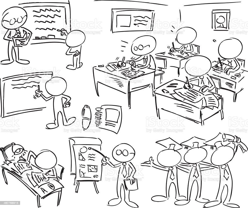 Faceless Characters - Education vector art illustration