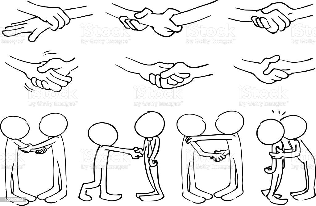 Faceless Characters Handshake royalty-free stock vector art