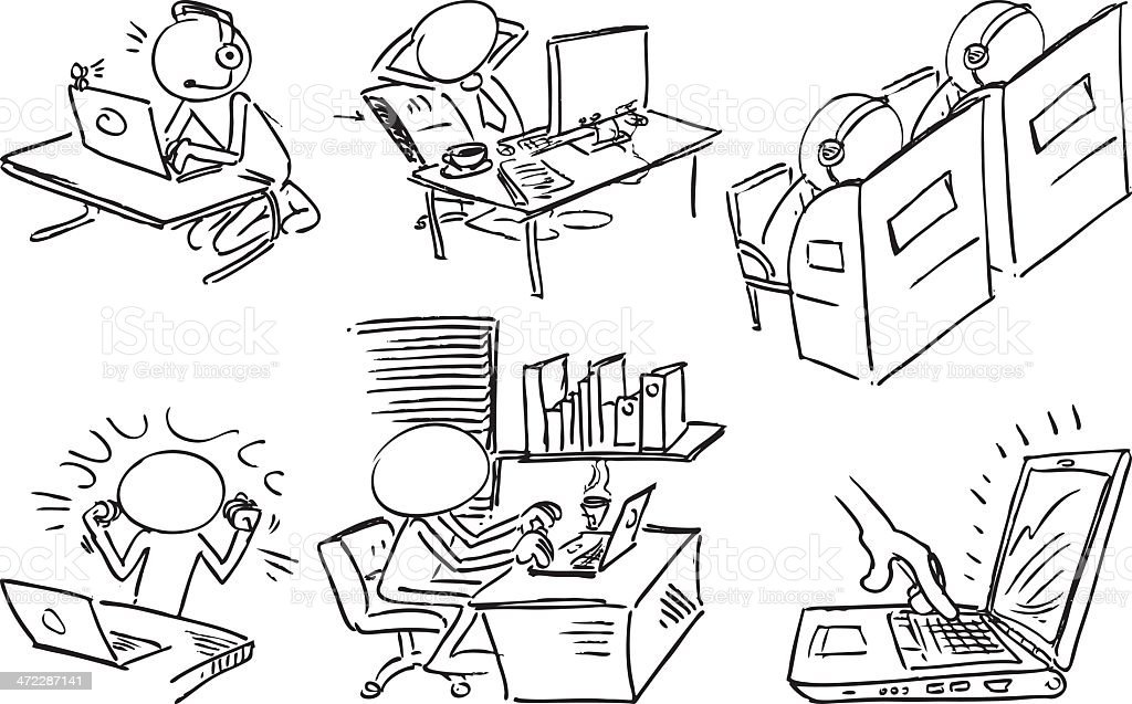 Faceless characters using laptops in different ways royalty-free stock vector art