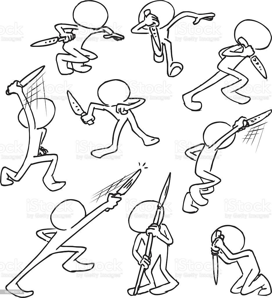 Faceless Characters Warrior vector art illustration