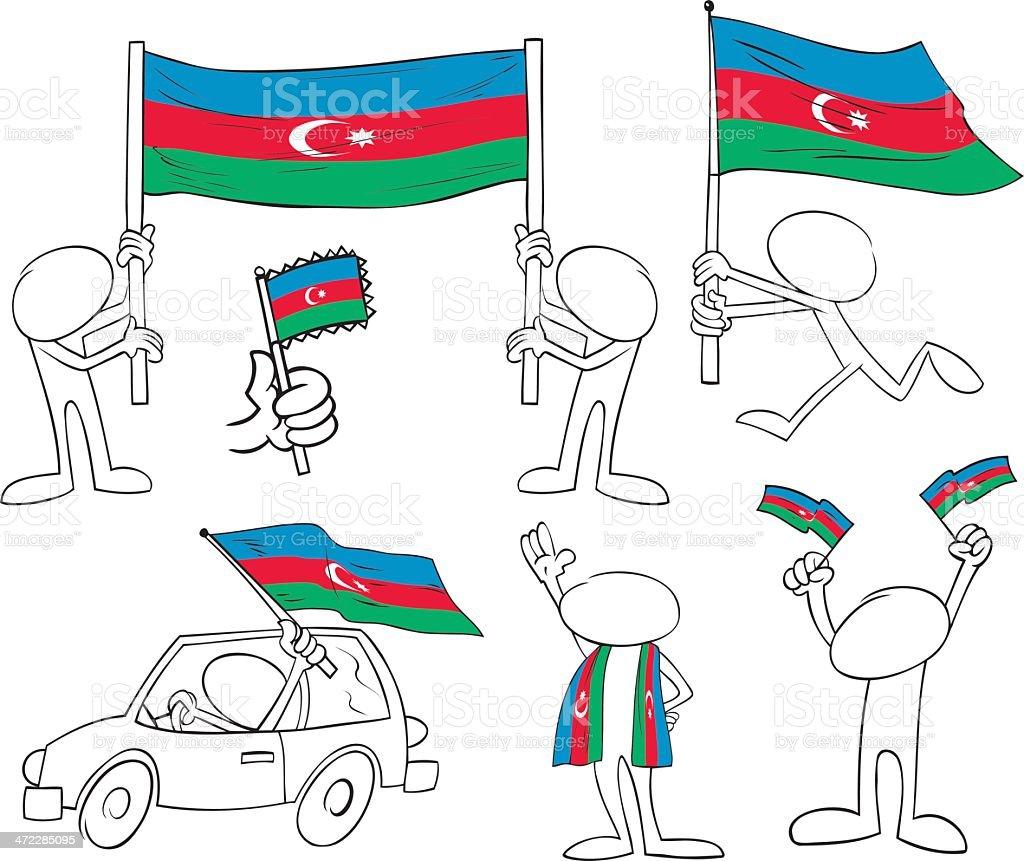 Faceless Characters with Azerbaijan Flag royalty-free stock vector art