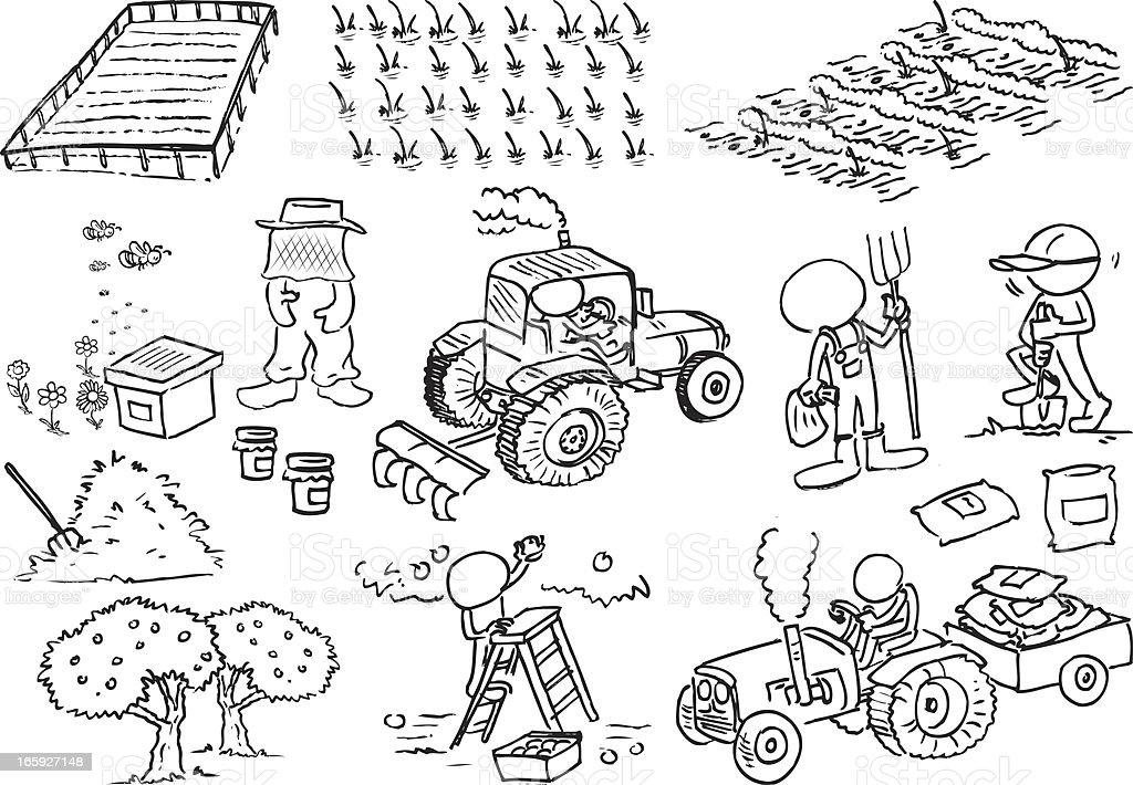Faceless Farmer Characters royalty-free stock vector art