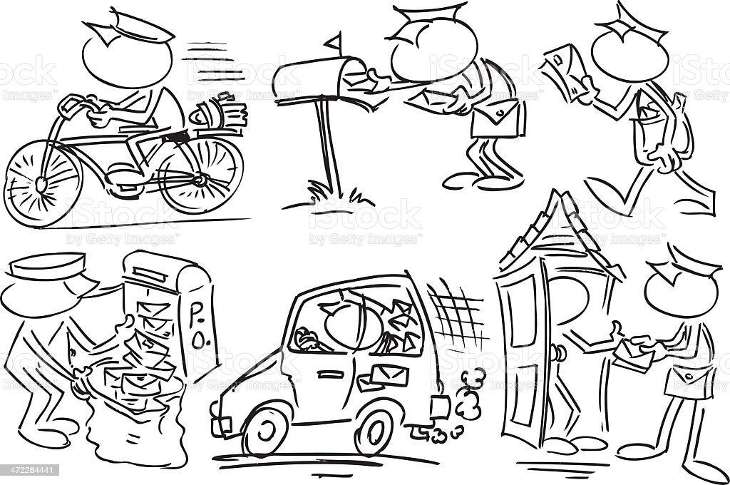 Faceless Postman Characters royalty-free stock vector art