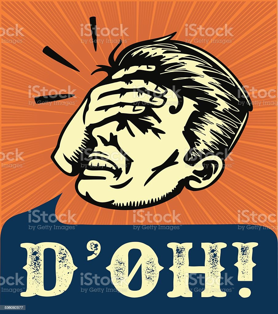 Facepalm, retro disappointed man slapping forehead, d'oh! vector art illustration