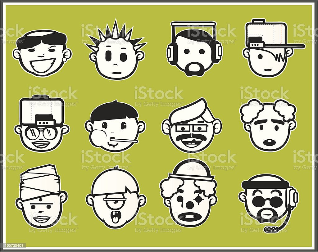 Faces black and white I royalty-free stock vector art