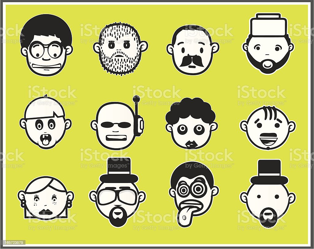 Faces black and white II royalty-free stock vector art