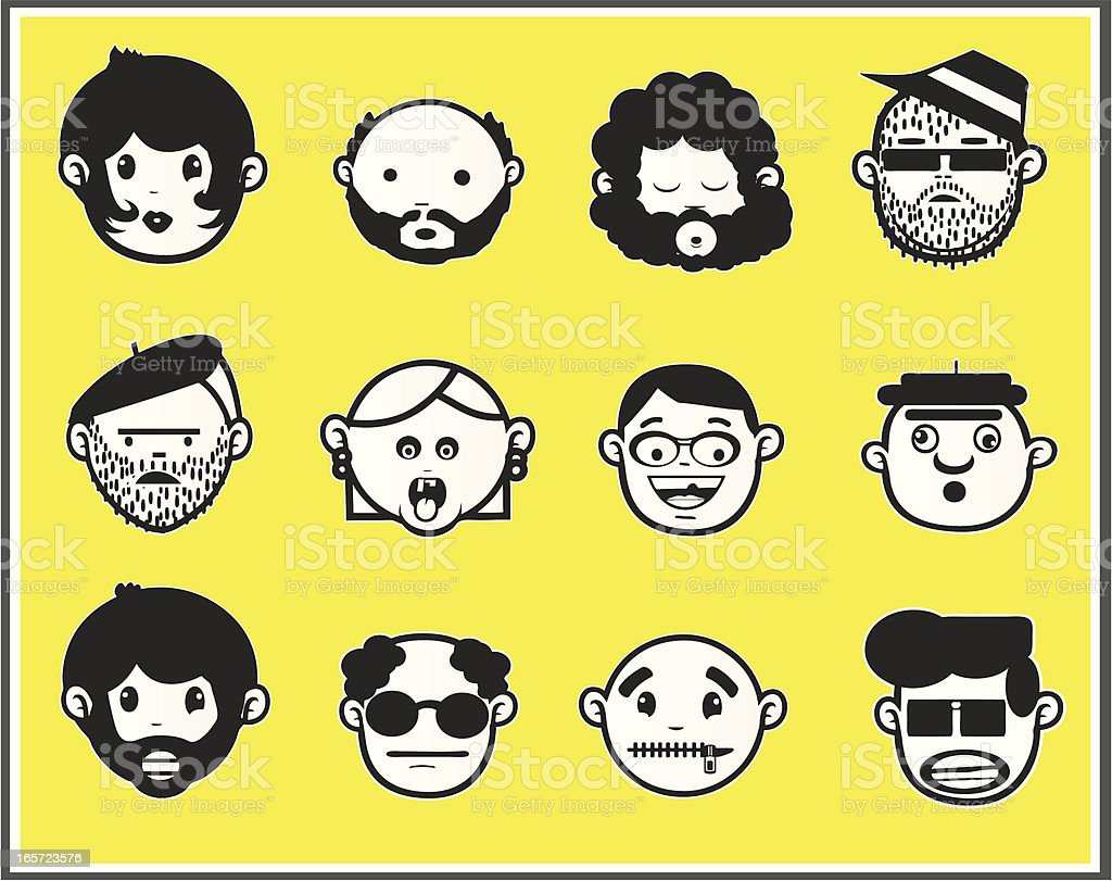 Faces black and white III royalty-free stock vector art