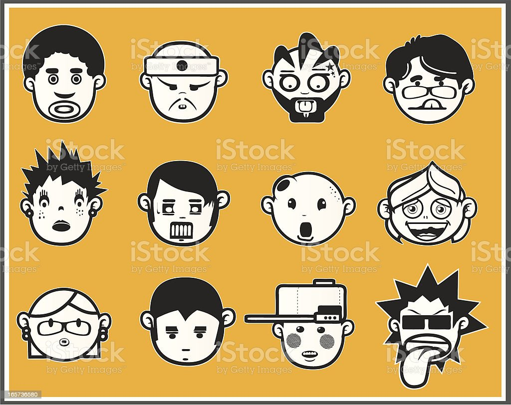 Faces black and white V royalty-free stock vector art