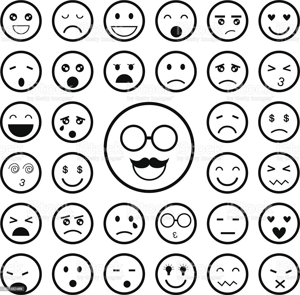 faces emoticon icons set vector art illustration