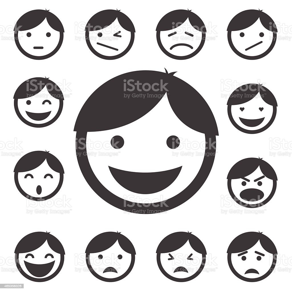 faces icon set vector art illustration