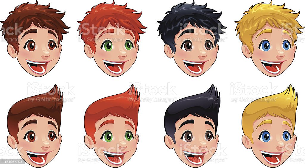 Faces of boys. royalty-free stock vector art