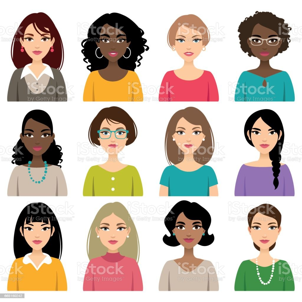 Faces of different nation women vector art illustration