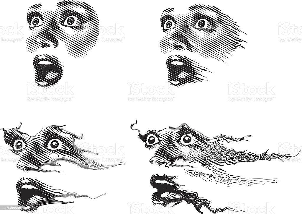 Faces Of Fear vector art illustration