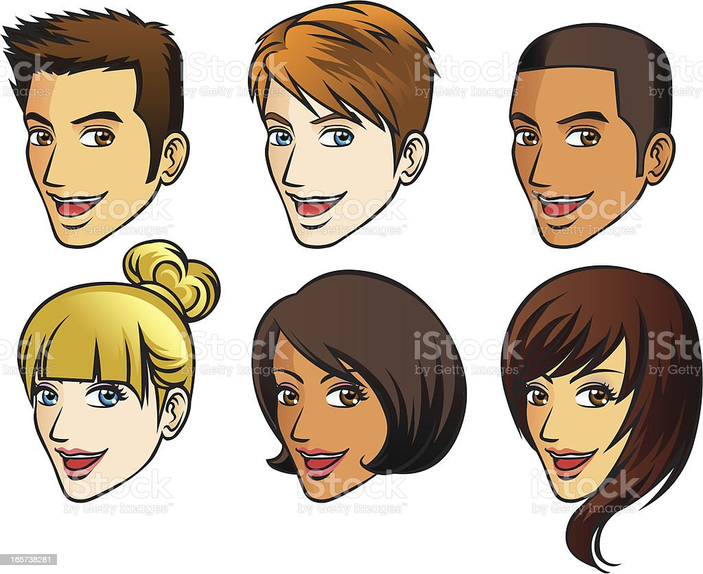 Faces of human (side view) royalty-free stock vector art