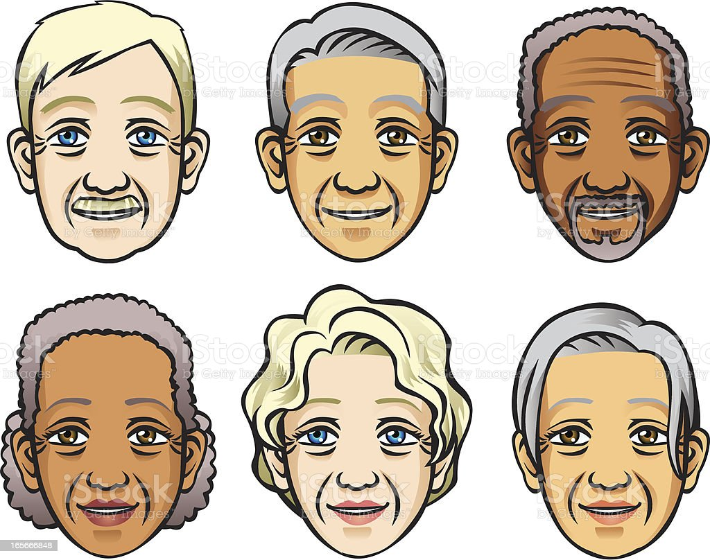 Faces of Senior royalty-free stock vector art