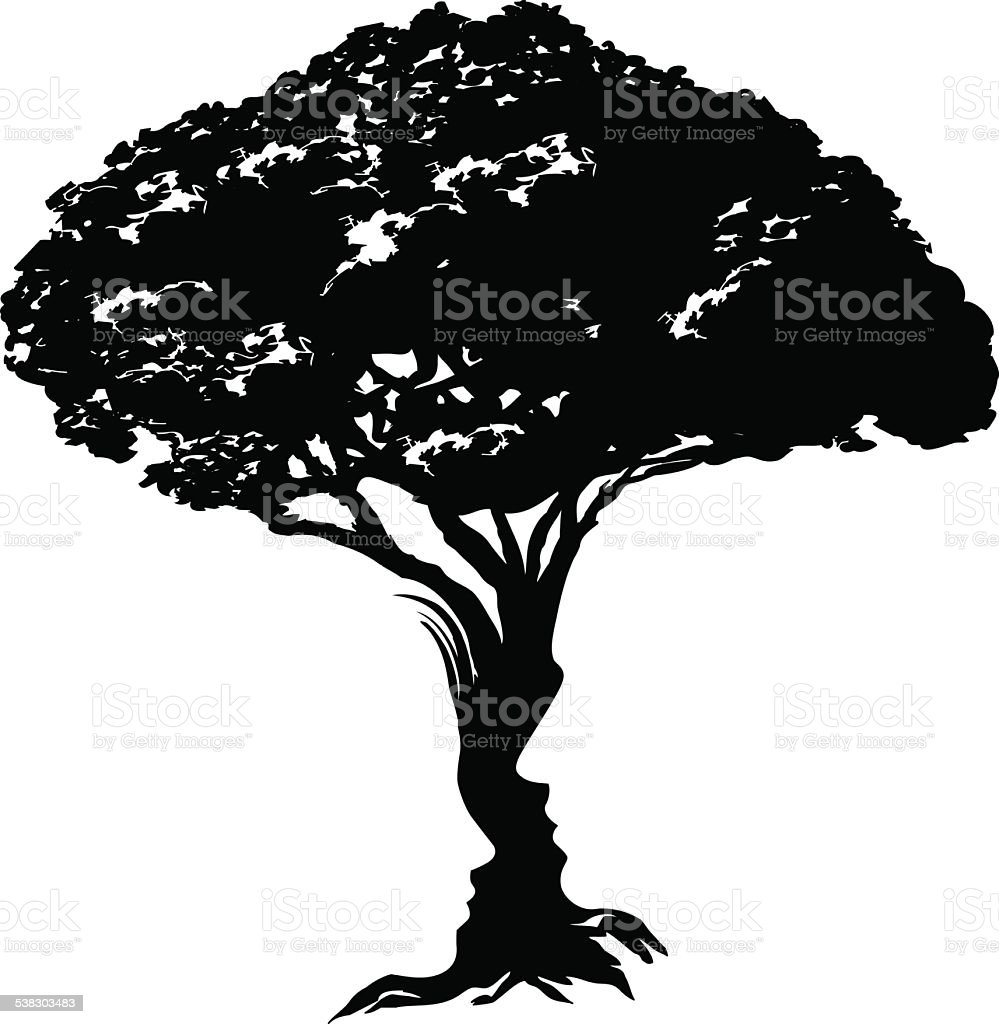 Faces tree concept vector art illustration