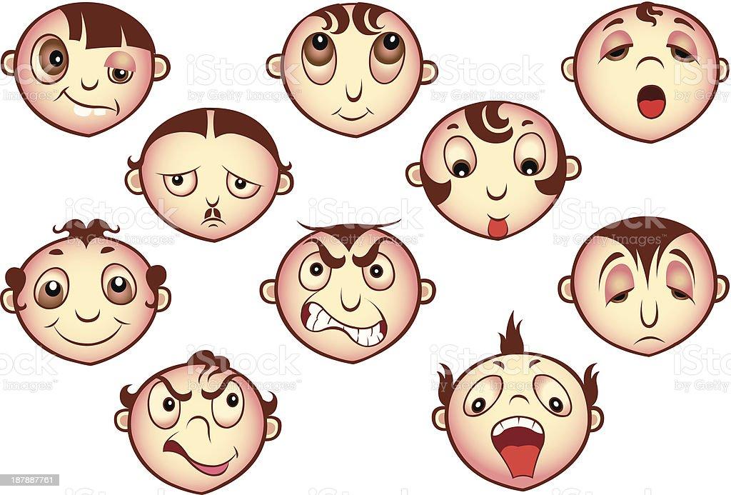 Faces vector art illustration