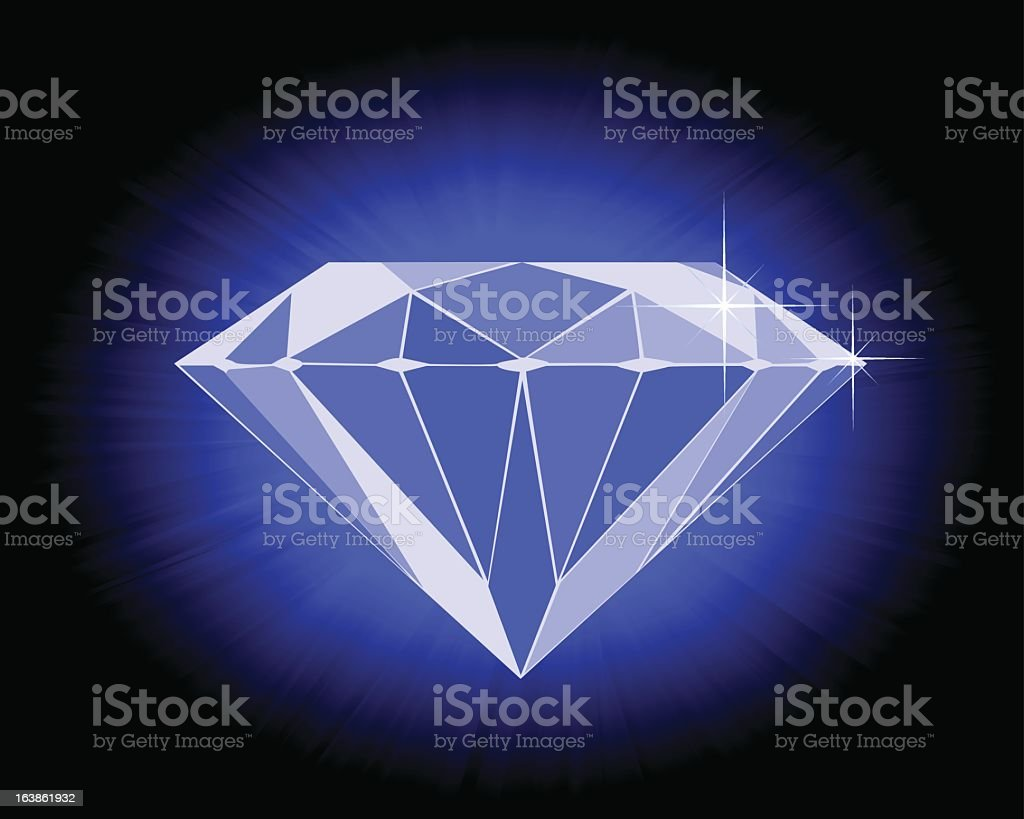 faceted blue diamond royalty-free stock vector art