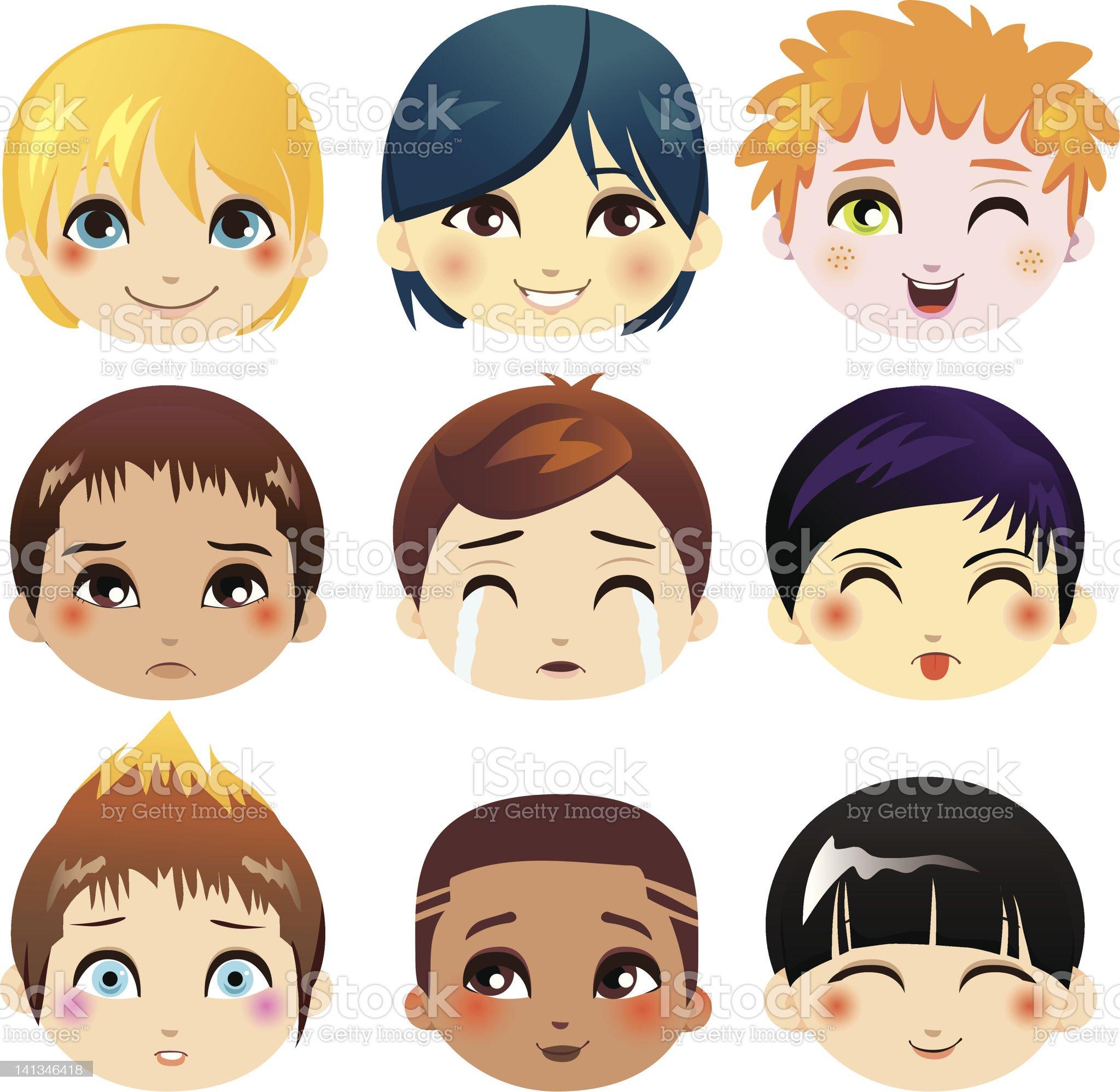 Facial Expression Collection royalty-free stock vector art