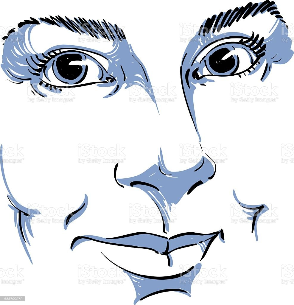 Facial expression, hand-drawn illustration of face of woman vector art illustration