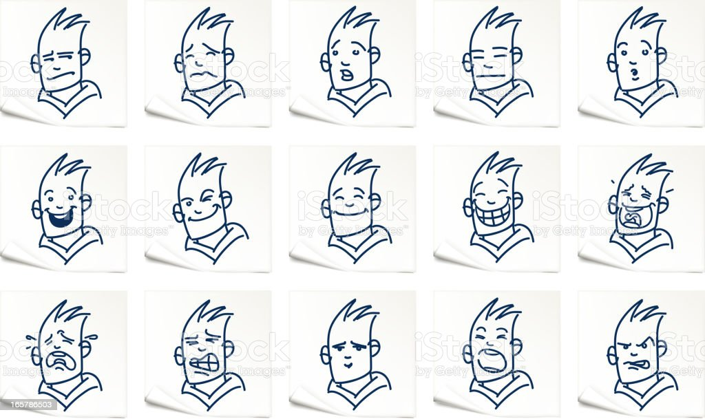 facial expression on paper royalty-free stock vector art