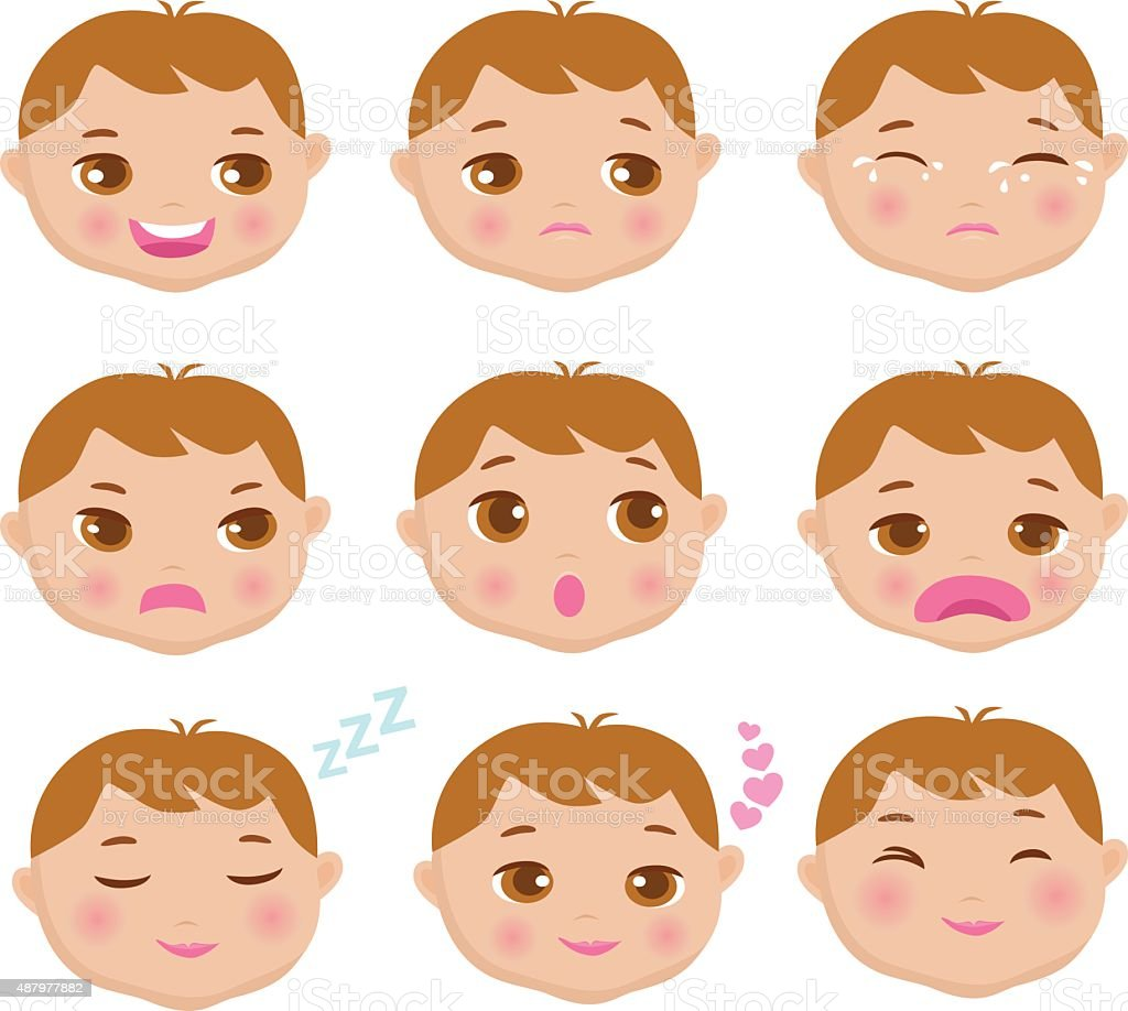 Facial Expressions of a Boy vector art illustration