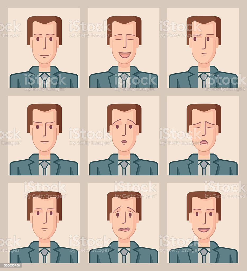 Facial expressions of a businessman. Flat vector art illustration