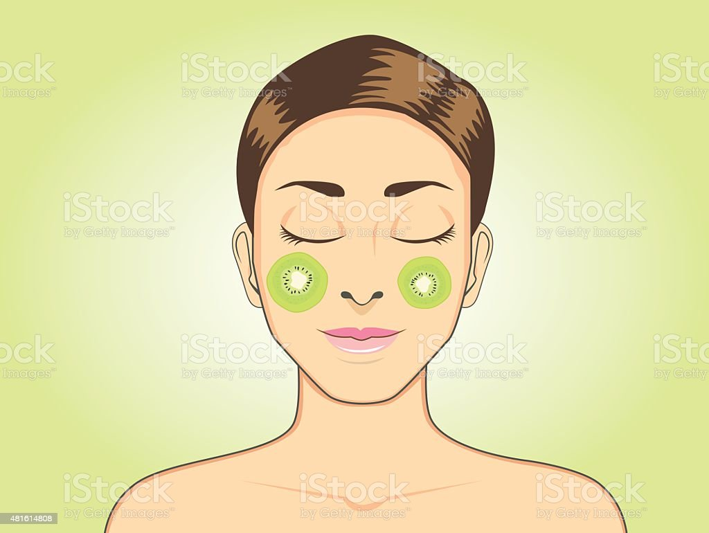 Facial mask with kiwi vector art illustration