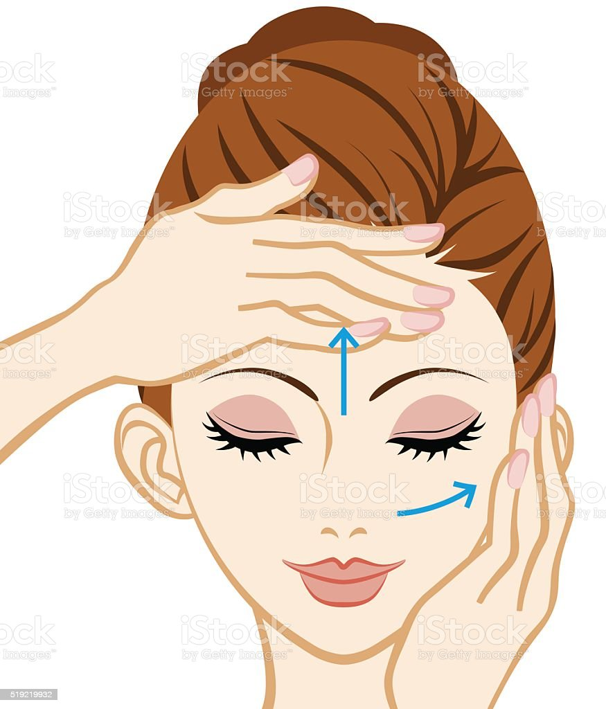 Facial Massage - Facial Skin Care vector art illustration
